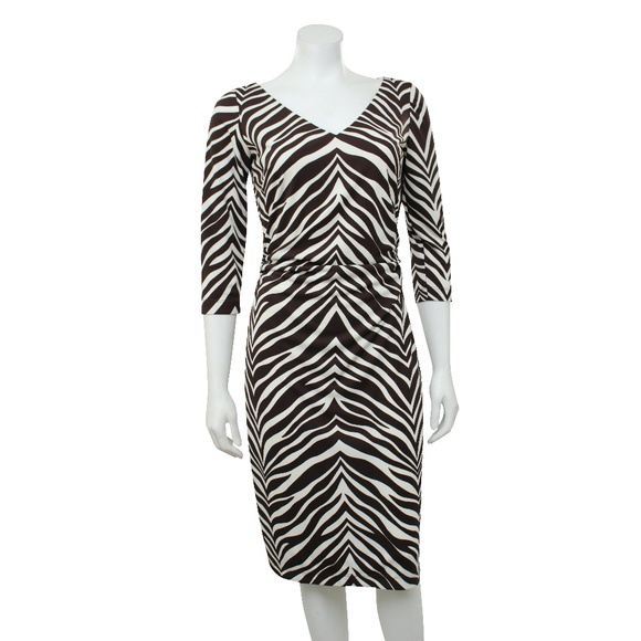 29e70e225296 David Meister Dresses | New Cream Brown Animal Print Dress | Poshmark